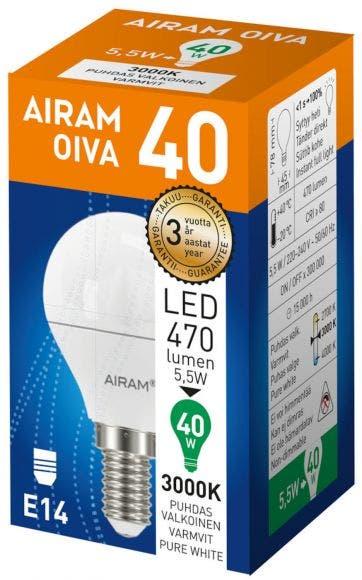 Airam led oiva opal 5,5W E14 3000K 470lm