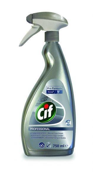 Cif Prof. Rostfritt och Glas rengöring 750ml, parfymfri, behöver ej sköljas av 7517938