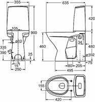 WC-istuin Ido Glow 62 korkea malli pehmeällä kannella.